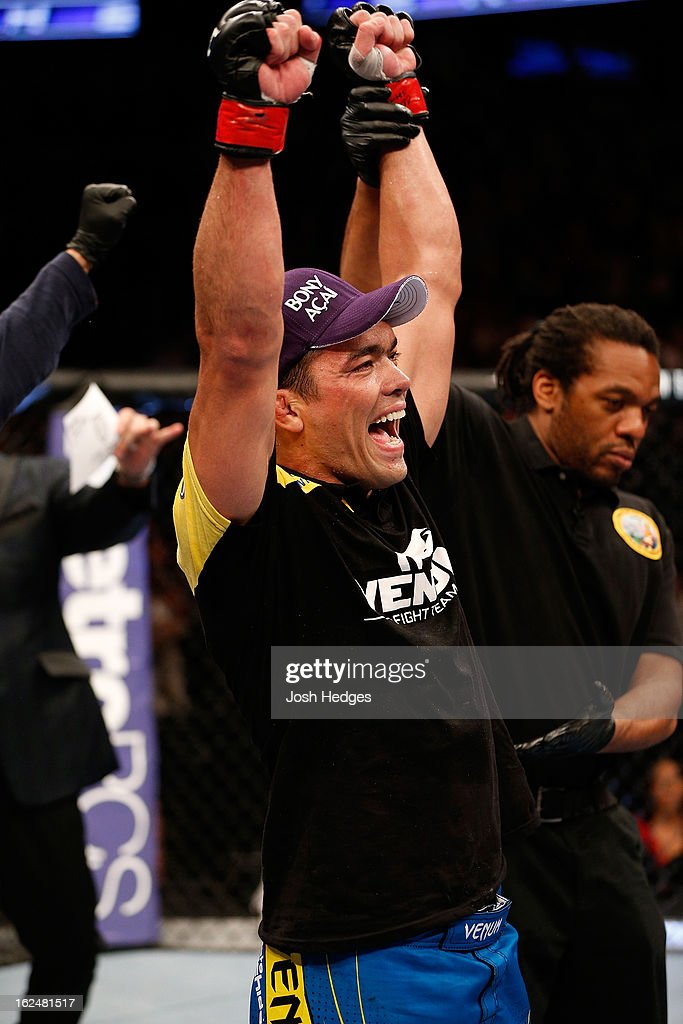 Lyoto Machida reacts to being declared the winner over Dan Henderson in their light heavyweight bout during UFC 157 at Honda Center on February 23, 2013 in Anaheim, California.
