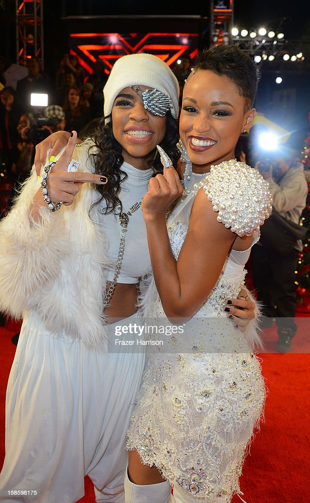 Lyric Da Queen and Paige Thomas arrive at Fox's 'The X Factor' Season Finale Night 1 at CBS Television City on December 19, 2012 in Los Angeles, California.