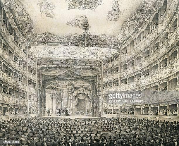 Lyric opera at Teatro La Fenice in Venice engraving Italy 18th century Venice Casa Di Carlo Goldoni
