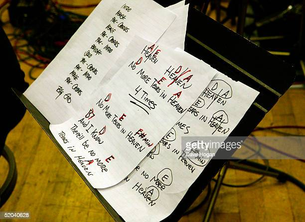 Lyric sheets for the recording of the charity cover of Eric Clapton's 'Tears In Heaven' Tsunami Relief Single are seen at Whitfield Studios on...