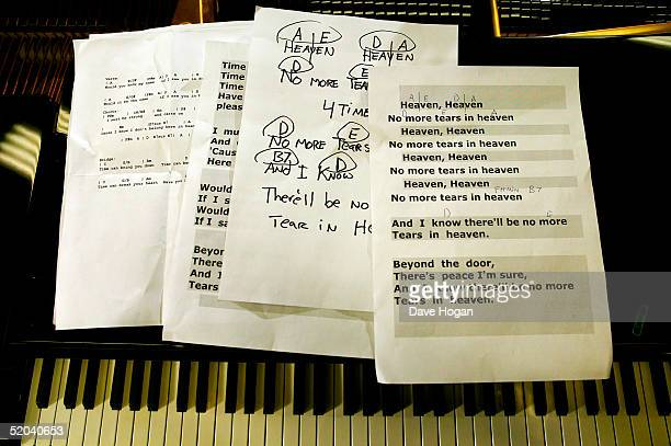 Lyric sheets for the recording of the charity cover of Eric Clapton's 'Tears In Heaven' Tsunami Relief Single sit on a piano at Whitfield Studios on...