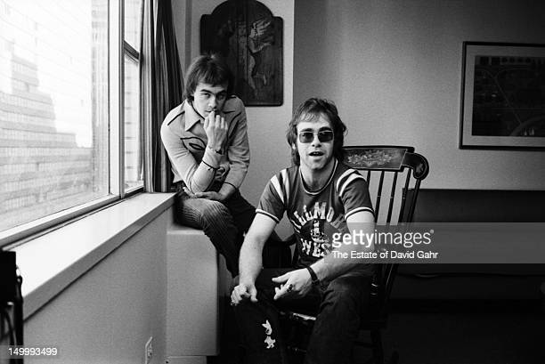 Lyricist Bernie Taupin and singer songwriter Elton John pose for a portrait in November 1970 in New York City New York