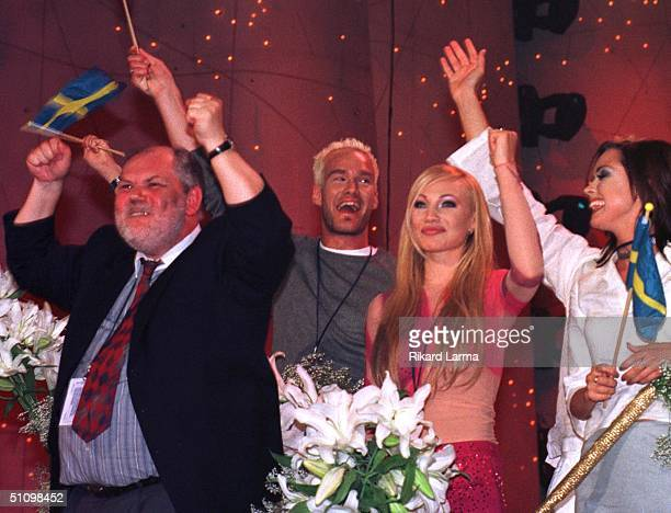 Lyricist Gert Lengstrand From Sweden Celebrates After The Song He Wrote 'Take Me To Your Heaven' Which Was Sung By Swedish Charlotte Nilsson Won...