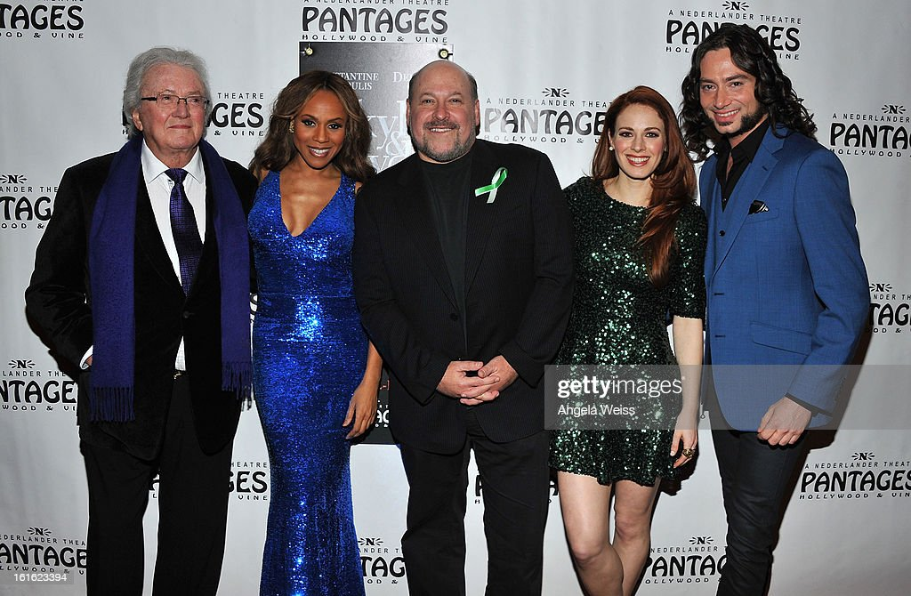 Lyricist Leslie Bricusse, singer Deborah Cox, composer Frank Wildhorn, singer Teal Wicks and actor Constantine Maroulis arrive at the opening night of 'Jekyll & Hyde' held at the Pantages Theatre on February 12, 2013 in Hollywood, California.