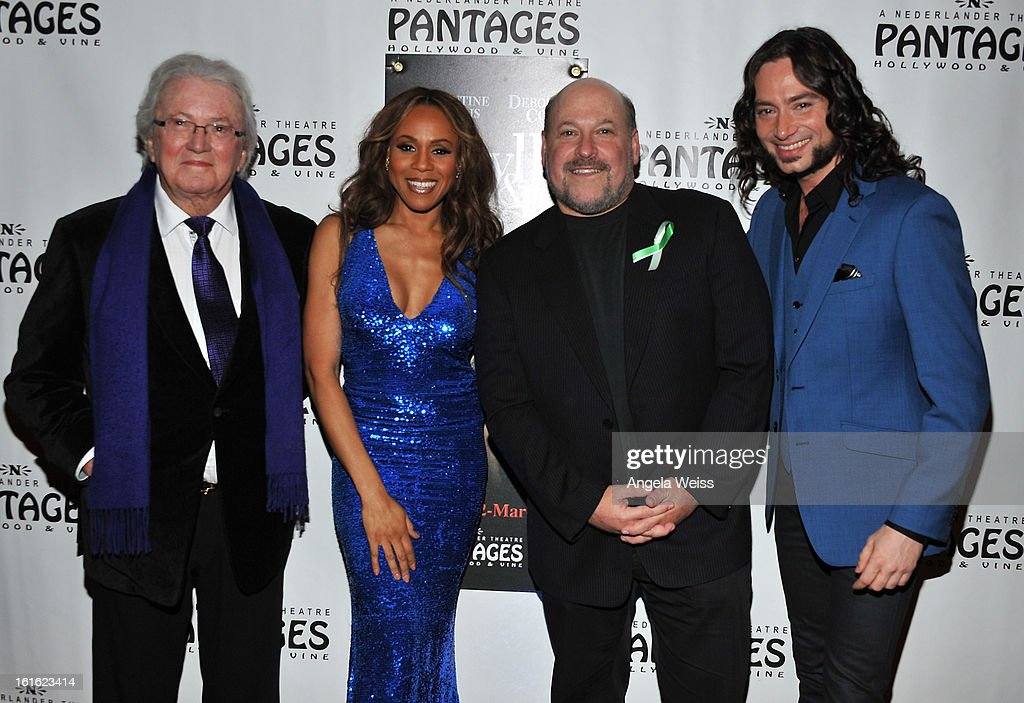 Lyricist Leslie Bricusse, singer/cast member Deborah Cox, composer Frank Wildhorn and actor/cast member Constantine Maroulis arrive at the opening night of 'Jekyll & Hyde' held at the Pantages Theatre on February 12, 2013 in Hollywood, California.