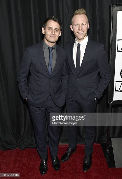 Lyricists Benj Pasek and Justin Paul attend the 42nd annual Los Angeles Film Critics Association Awards at InterContinental Los Angeles Century City...