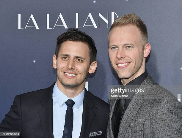 Lyricists Benj Pasek and Justin Paul attend the premiere of Lionsgate's 'La La Land' at Mann Village Theatre on December 6 2016 in Westwood California