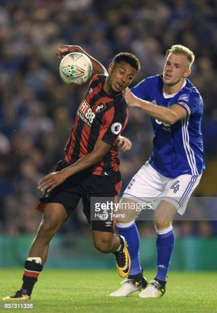 Lys Mousset of AFC Bournemouth and Luke Chambers of Ipswich battle for possession during the Carabao Cup Second Round match between Birmingham City...
