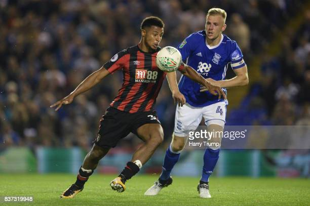 Lys Mousset of AFC Bournemouth and Maikel Kieftenbeld of Birmingham City battle for possession during the Carabao Cup Second Round match between...