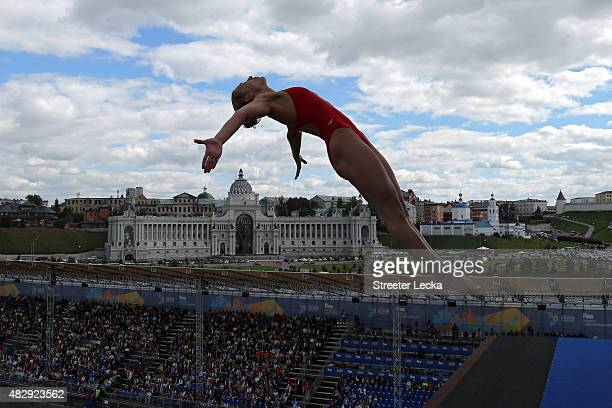 Lysanne Richard of Canada competes in the Women's 20m High Diving Final on day eleven of the 16th FINA World Championships at the Kazanka River on...