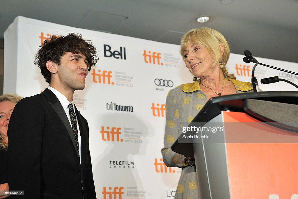 Lyse Lafontaine and Filmmaker Xavier Dolan, winners of The City of Toronto + Canada Goose Award for Best Canadian Feature Film for 'Laurence Anyways' speak at the 37th Toronto International Film Festival Award Winner Ceremony held at the InterContinental Toronto Center Hotel on September 16, 2012 in Toronto, Canada.