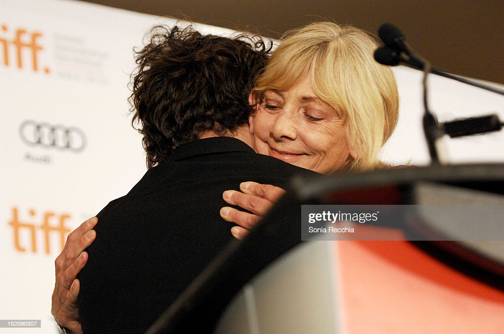 Lyse Lafontaine and Filmmaker Xavier Dolan, winners of The City of Toronto + Canada Goose Award for Best Canadian Feature Film for 'Laurence Anyways' hug at the 37th Toronto International Film Festival Award Winner Ceremony held at the InterContinental Toronto Center Hotel on September 16, 2012 in Toronto, Canada.