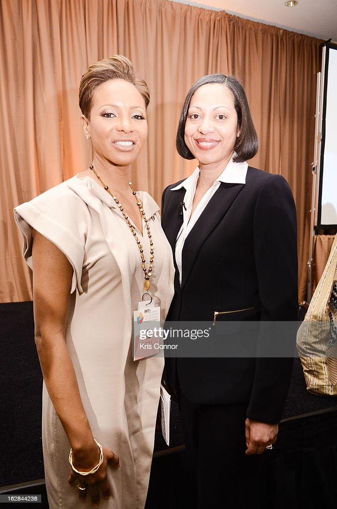 MC Lyte and Ellie Nieves pose for a photo during the Leading Women Defined: Intel Presents Developing Your Personal Brand Mentoring Session on February 28, 2013 in Washington, DC.