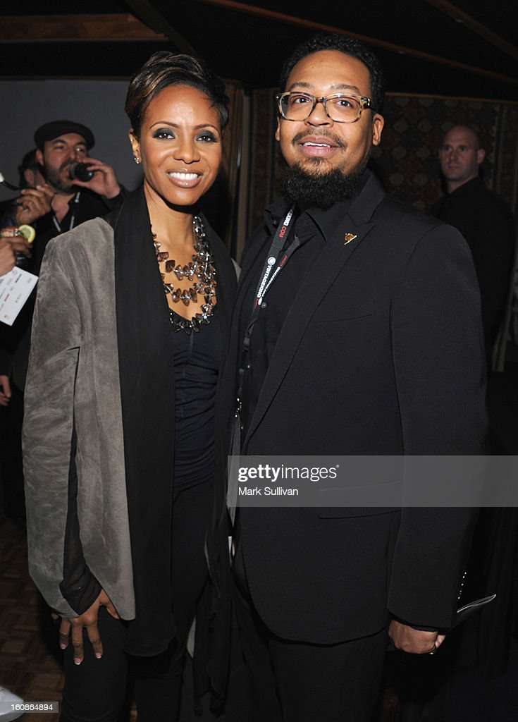 <a gi-track='captionPersonalityLinkClicked' href=/galleries/search?phrase=MC+Lyte&family=editorial&specificpeople=226807 ng-click='$event.stopPropagation()'>MC Lyte</a> and Om'Mas Keith attend The 55th Annual GRAMMY Awards - P&E Wing Event Honoring Quincy Jones And Al Schmitt held at The Village on February 6, 2013 in West Los Angeles, California.