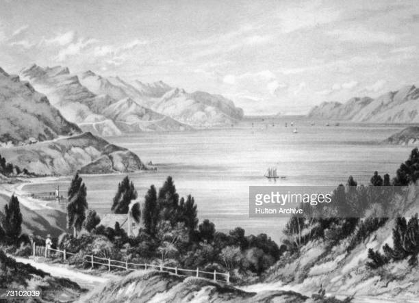 Lyttelton Harbour an inlet in Banks Peninsula on the coast of Canterbury New Zealand 1877 Colour lithograph by WD Bletchley after CD Baraud