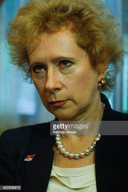 Lyudmila Vorobyeva Russian ambassador to Malaysia listens to a reporter after a press conference on July 22 2014 in Kuala Lumpur Malaysia Malaysia...