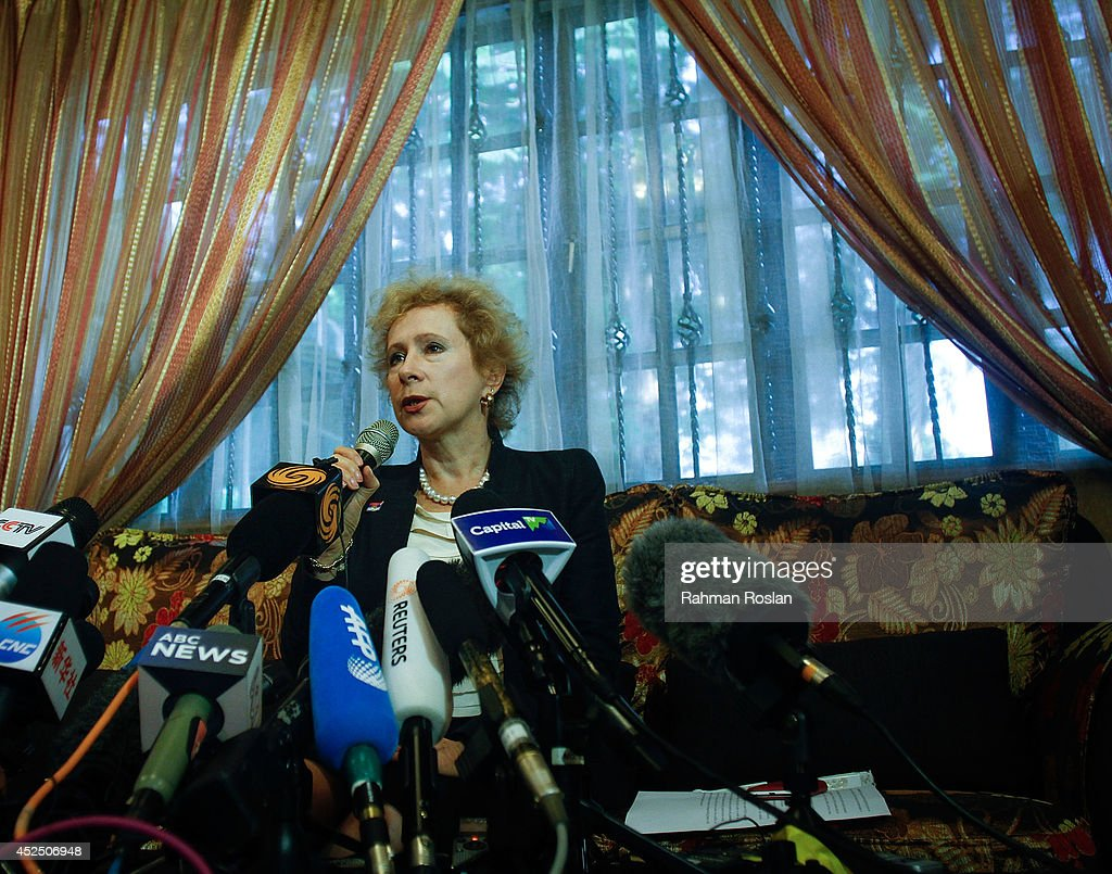 Lyudmila Vorobyeva, Russian ambassador to Malaysia speaks to a reporter after a press conference on July 22, 2014 in Kuala Lumpur, Malaysia. Malaysia Airlines flight MH17 was travelling from Amsterdam to Kuala Lumpur when it crashed killing all 298 on board including 80 children. The aircraft was allegedly shot down by a missile and investigations continue over the perpetrators of the attack.