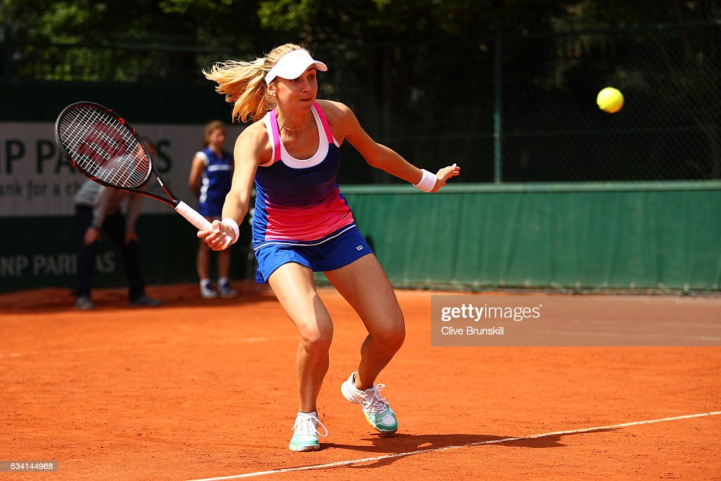 Lyudmyla Kichenok of Ukraine hits a forehand during the Ladies Doubles first round match against Oksana Kalashnikova of Georgia and Danka Kovinic of Macedonia on day four of the 2016 French Open at Roland Garros on May 25, 2016 in Paris, France.
