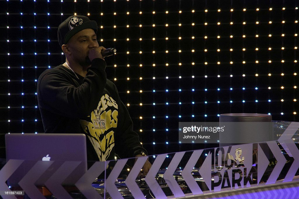 DJ Lyve spins at BET's '106 & Park' at BET Studios on February 11, 2013 in New York City.