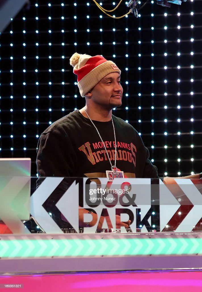 DJ Lyve spins during a taping of BET's '106 & Park' at 106 & Park Studio on January 29, 2013, in New York City.