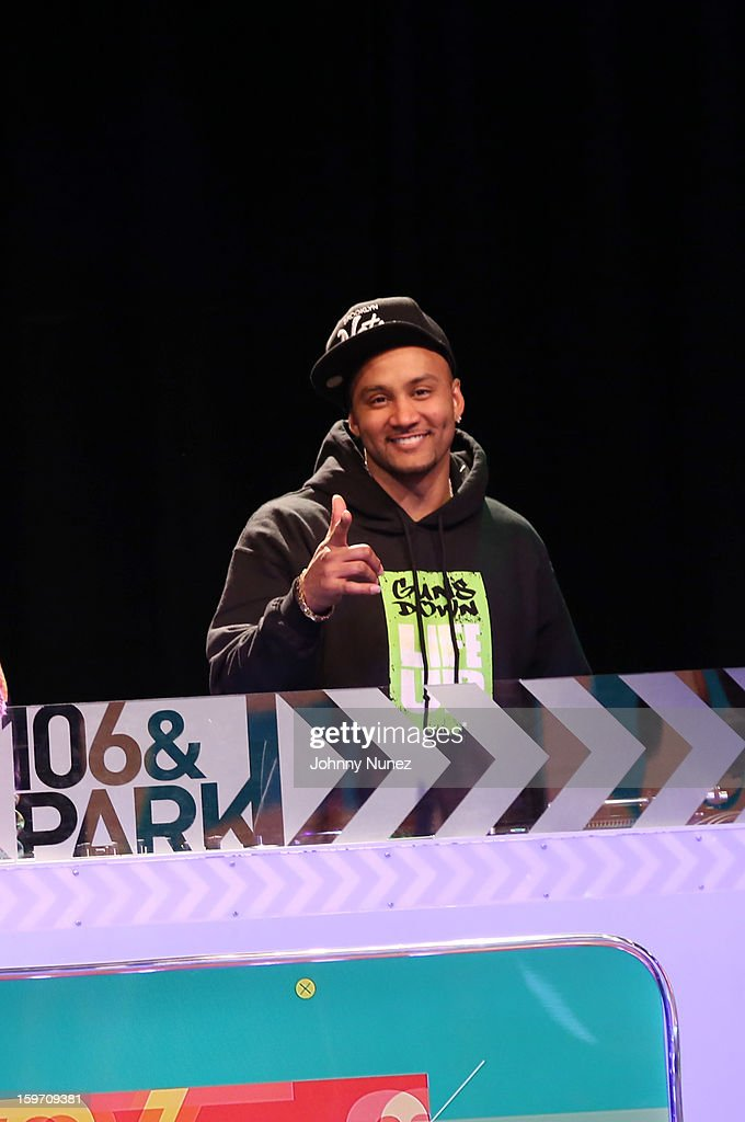 DJ Lyve spins on BET's '106 & Park' at 106 & Park Studio on January 18, 2013 in New York City.