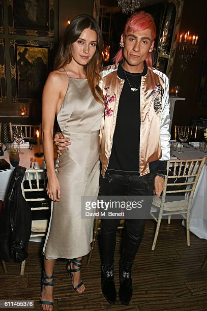 Lyza Onysko and Kyle De'Volle attend the JF London x Kyle De'Volle VIP dinner at Beach Blanket Babylon on September 29 2016 in London England