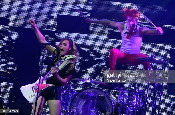 Lzzy Hale and Arejay Hale of Halestorm perform at the 5th Annual Revolver Golden Gods Award Show at Club Nokia on May 2 2013 in Los Angeles California