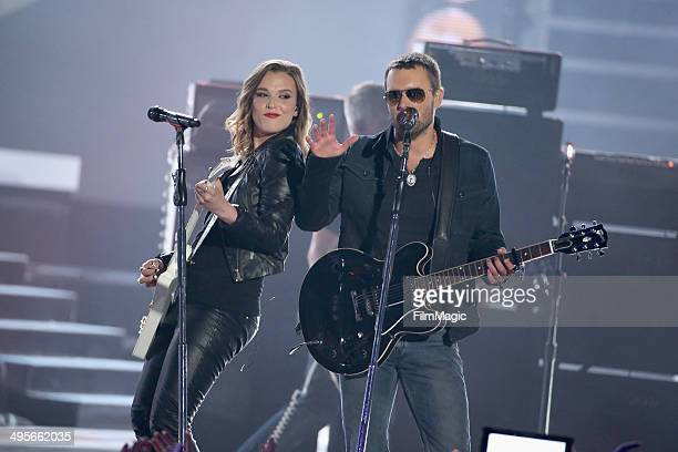 Lzzy Hale and Eric Church perform during the 2014 CMT Music awards at the Bridgestone Arena on June 4 2014 in Nashville Tennessee