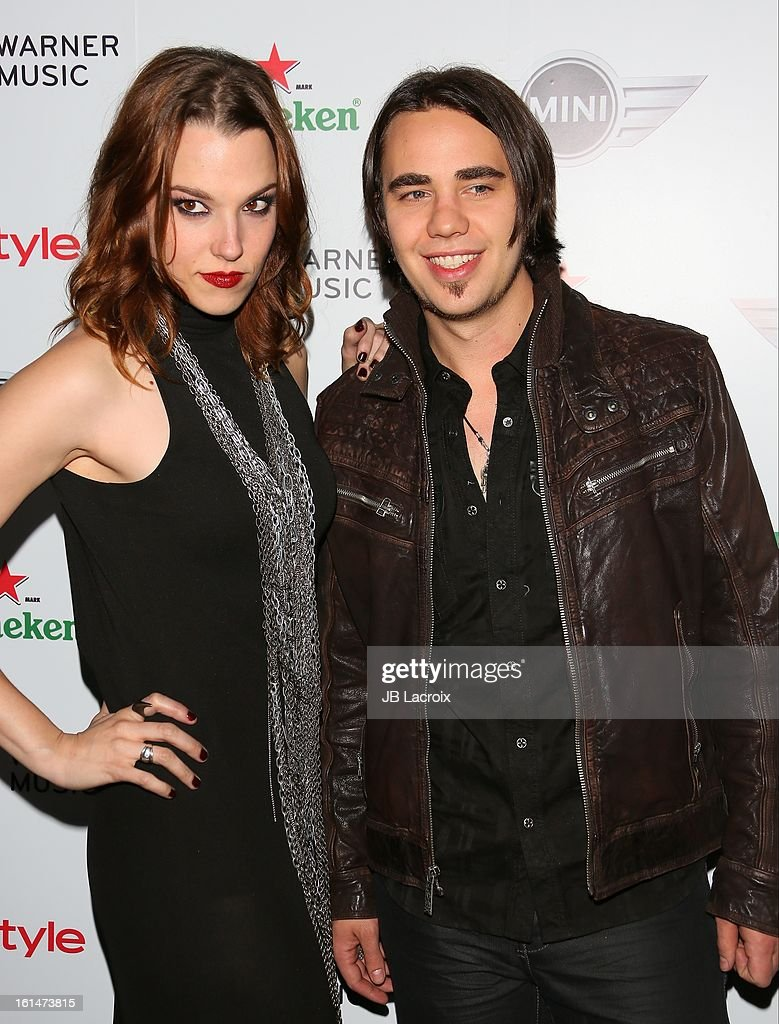 Lzzy Hale and Joe Hottinger attend the Warner Music Group 2013 Grammy Celebration Presented By Mini held at Chateau Marmont on February 10, 2013 in Los Angeles, California.