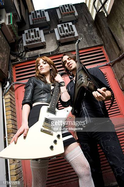 Lzzy Hale and Joe Hottinger of American rock band Halestorm photographed during a portrait shoot for Total Guitar Magazine February 12 2012