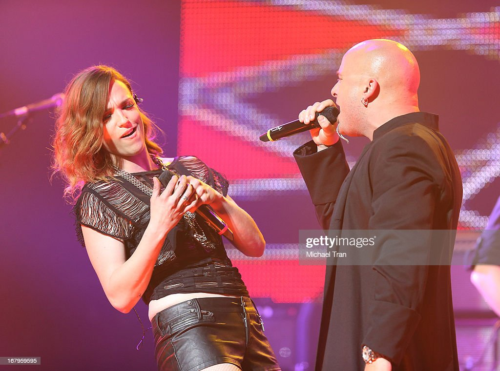Lzzy Hale of Halestorm (L) and David Draiman of Disturbed / Device at the 5th Annual Revolver Golden Gods Award Show held at Club Nokia on May 2, 2013 in Los Angeles, California.
