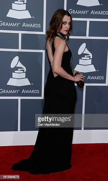 Lzzy Hale of 'Halestorm' arrives at the 55th Annual Grammy Awards at the Staples Center on February 10 2013 in Los Angeles California