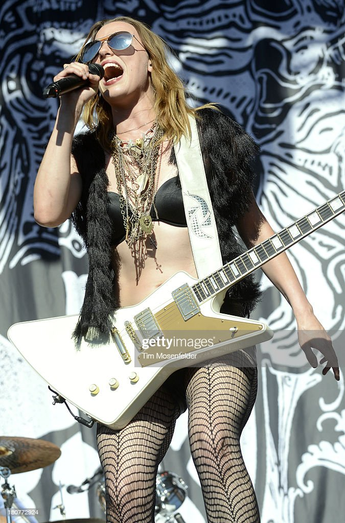 <a gi-track='captionPersonalityLinkClicked' href=/galleries/search?phrase=Lzzy+Hale&family=editorial&specificpeople=5718929 ng-click='$event.stopPropagation()'>Lzzy Hale</a> of Halestorm performs as part of the Aftershock Music Festival at Discovery Park on September 15, 2013 in Sacramento, California.
