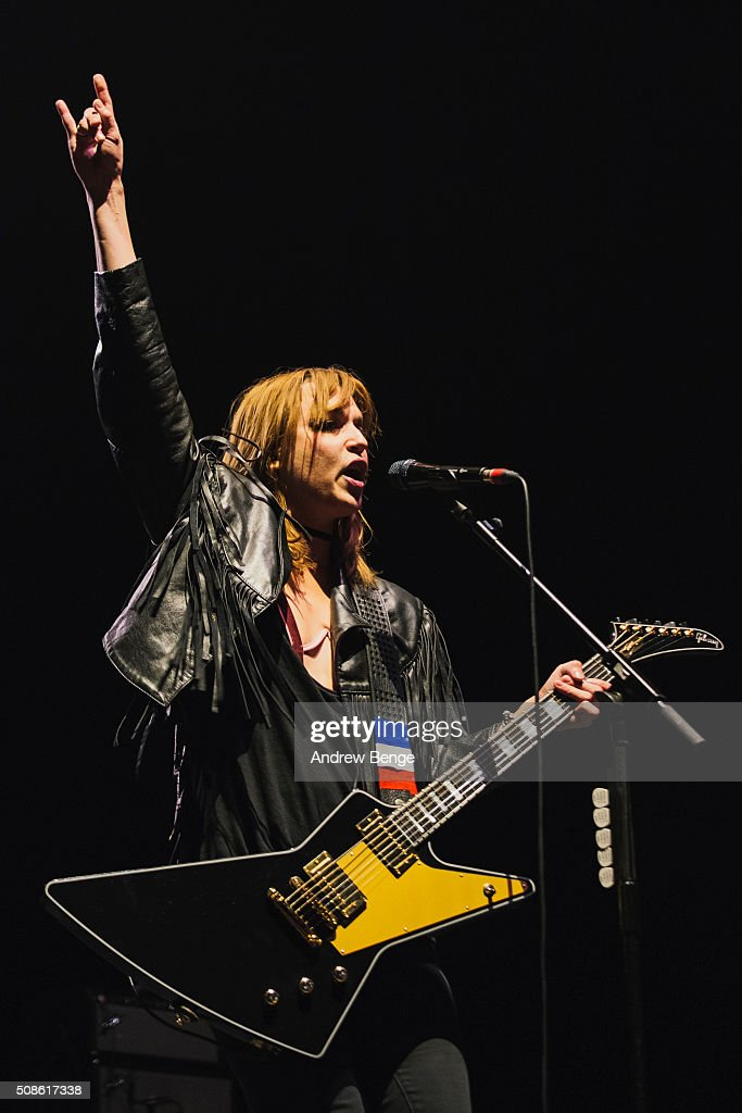 Lzzy Hale of Halestorm performs at First Direct Arena on February 5, 2016 in Leeds, England.