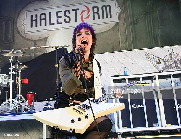 Lzzy Hale of Halestorm performs at the Uproar Festival at The Cynthia Woods Mitchel Pavilion on September 12 2010 in Houston Texas