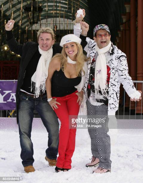 I'm a Celebrity contestants David van Day Nicola McLean and Timmy Mallett during a snowball fight launched by Yahoo at Covent Garden Piazza in...