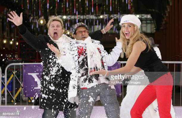 I'm a Celebrity contestants David van Day Timmy Mallett and Nicola McLean during a snowball fight launched by Yahoo at Covent Garden Piazza in...