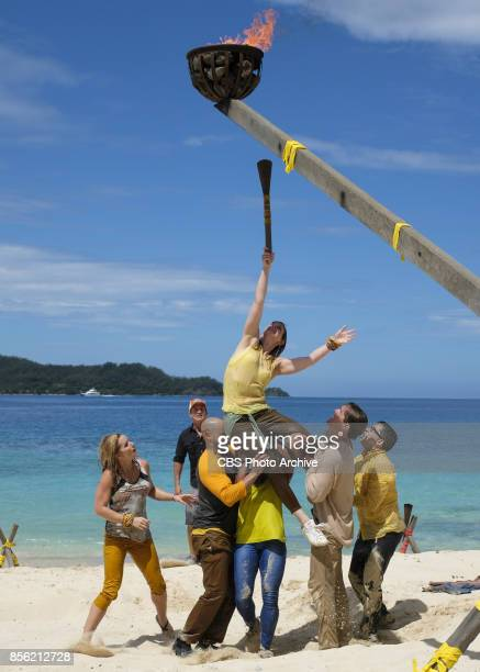 'I'm Not Crazy I'm Confident' Jessica Johnston Jeff Probst Joe Mena Roark Luskin Cole Medders and Mike Zahalsky on SURVIVOR themed Heroes vs Healers...