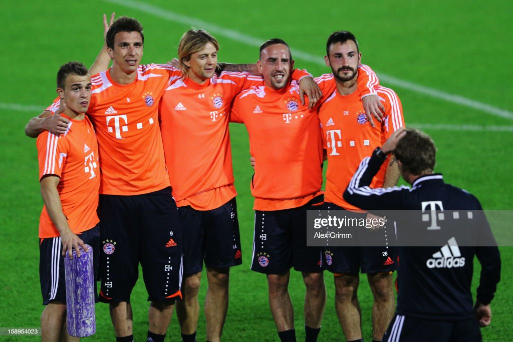 m11, Mario Mandzukic, Anatoliy Tymoshchuk, Franck Ribery and Diego Contento (L-R) pose during a Bayern Muenchen training session at the ASPIRE Academy for Sports Excellence on January 4, 2013 in Doha, Qatar.