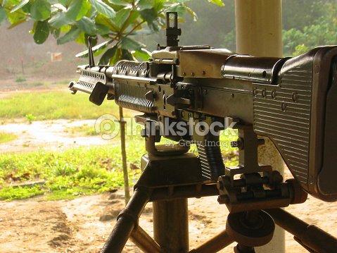 M60 Machine Gun Firing Range Vietnam Stock Photo - Thinkstock
