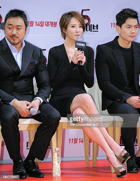 Ma DongSeok Kim SunA and On JooWan attend the 'The Five' press conference at Apgujeong CGV on October 15 2013 in Seoul South Korea