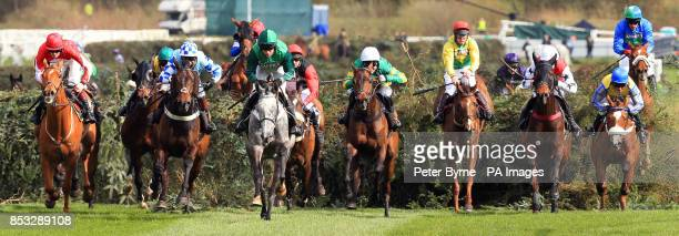 Ma Filleule ridden by Barry Geraghty leads the pack after the 12th fence during the Crabbie's Supporting Everton In The Community Topham Chase on...