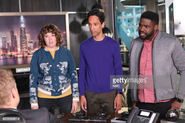 POWERLESS 'I'ma Friend You' Episode 108 Pictured Jennie Pierson as Wendy Danny Pudi as Teddy Ron Funches as Ron