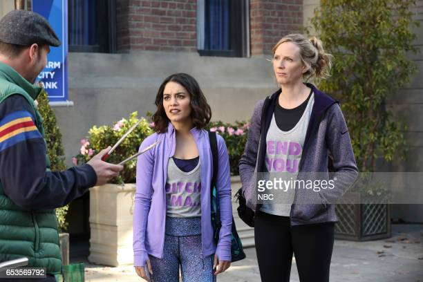 POWERLESS 'I'ma Friend You' Episode 108 Pictured Michael Cornacchia as Hot Dog Tony Vanessa Hudgens as Emily Christina Kirk as Jackie