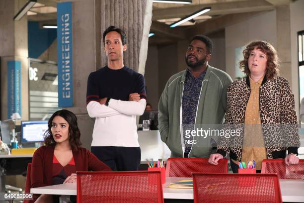 POWERLESS 'I'ma Friend You' Episode 108 Pictured Vanessa Hudgens as Emily Danny Pudi as Teddy Ron Funches as Ron Jennie Pierson as Wendy
