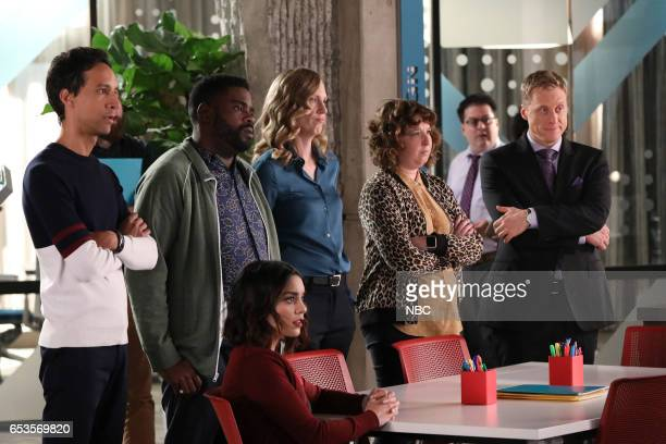 POWERLESS 'I'ma Friend You' Episode 108 Pictured Vanessa Hudgens as Emily Danny Pudi as Teddy Ron Funches as Ron Jennie Pierson as Wendy Alan Tudyk...