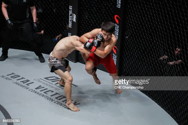 Ma Hao Bin shows off his striking against Hexigetu during ONE Championship Shanghai at the Shanghai Oriental Sports Center on September 02 2017 in...