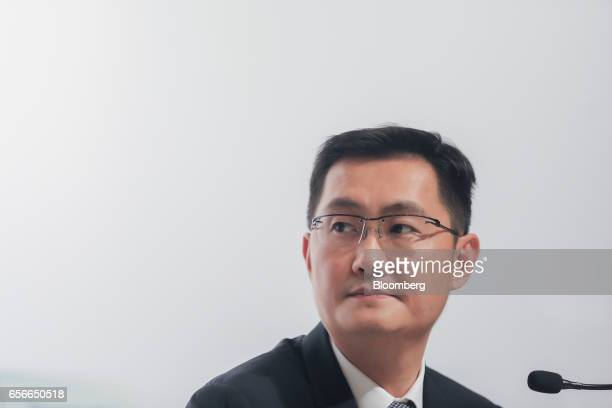Ma Huateng chairman and chief executive officer of Tencent Holdings Ltd attends a news conference in Hong Kong China on Wednesday March 22 2017...