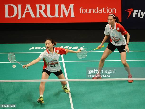 Ma Jin and Gloria Emanualla Widjaja of Djarum Kudus Indonesia compete against Riko Imai and Nao Ono of Kumamoto Sishukan Japan during the Djarum...