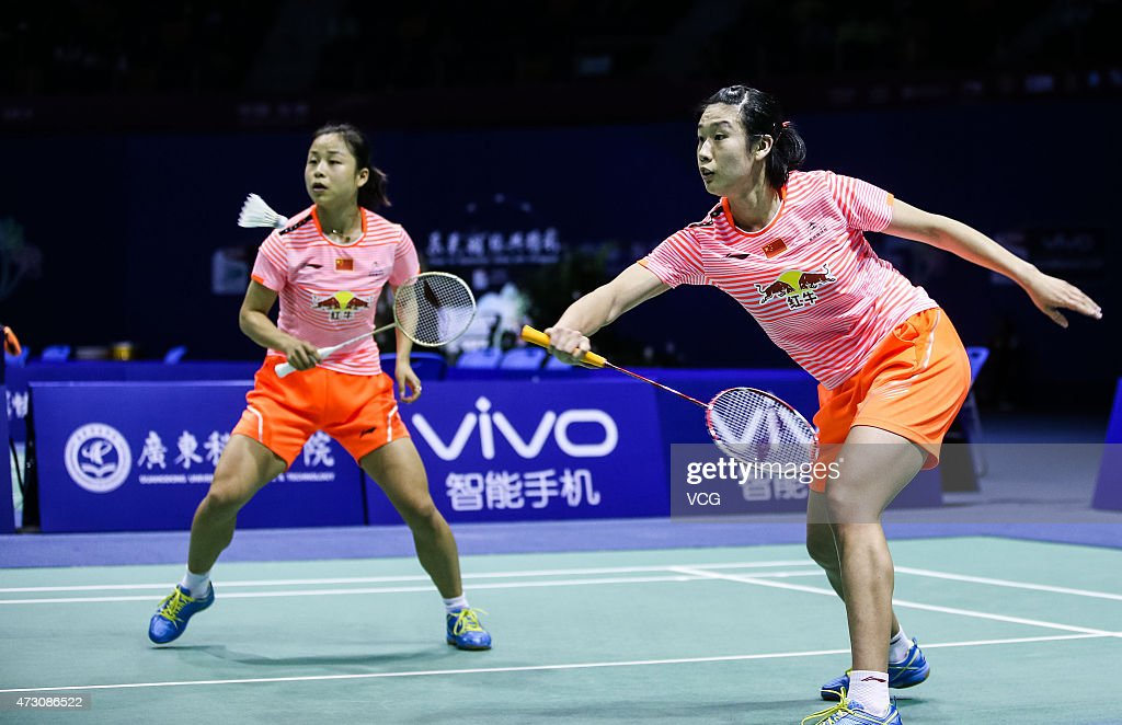<a gi-track='captionPersonalityLinkClicked' href=/galleries/search?phrase=Ma+Jin&family=editorial&specificpeople=5747194 ng-click='$event.stopPropagation()'>Ma Jin</a> and Tang Yuanting of China competes against Vu Thi Trang and Nguyen Thi Sen of Thailand on day three of 2015 Sudirman Cup BWF World Mixed Team Championships on May 12, 2015 in Dongguan, Guangdong province of China.